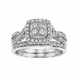 14k White Gold 1/2 Carat T.W. Certified Diamond Square Halo Engagement Ring Se