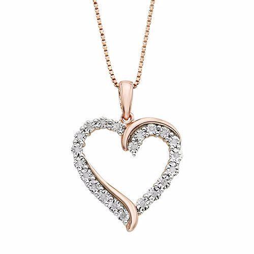 bb3877b8d8524 1/10 Carat T.W. Diamond 14k Rose Gold Vermeil Heart Pendant Necklace