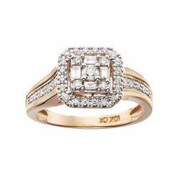 10k Gold 1/3 Carat T.W. Certified Diamond Halo Engagement Ring