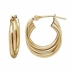 14k Gold Triple Tube Hoop Earrings