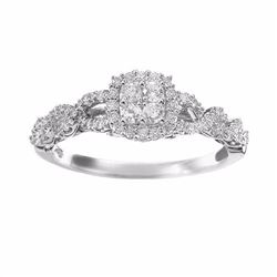 Diamond Twist Frame Engagement Ring in 14k White Gold (1/3 ct. T.W.)