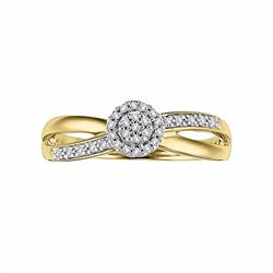 Round-Cut Certified Diamond Crisscross Engagement Ring in 10k Gold (1/6 ct. T.W.)