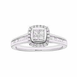 14k White Gold 3/8 Carat T.W. Diamond Tiered Square Halo Ring