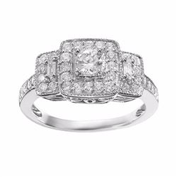 Diamond Trellis Halo Engagement Ring in 14k White Gold (3/4 ct. T.W.)