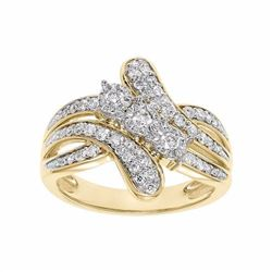 1/2 Carat T.W. Certified Diamond 10k Gold 3-Stone Bypass Anniversary Ring