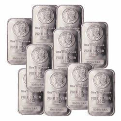 (10) 1 oz. Morgan Design Silver Bars -
