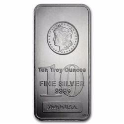 10 - oz. Silver Bar - Morgan Design