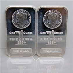 (2) 1 oz. Silver Bars- Morgan Design
