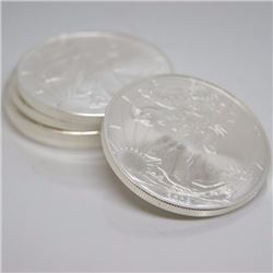 (4) Random Date US Silver Eagles - 1 oz each
