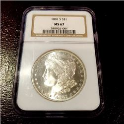 1881 s MS 67 NGC BLAZING Bright Morgan Dollar
