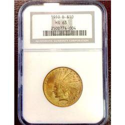 1910 d MS 63 $ 10 Gold Indian NGC