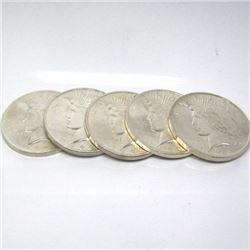 (5) 1922-23 BU Peace Dollars