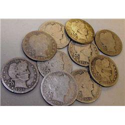(10) Barber Half Dollars - 90% Silver!