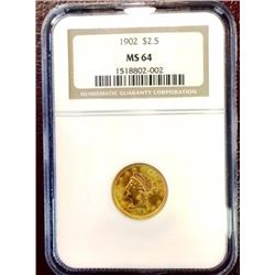 1902 MS 64 $ 2.5 Gold Liberty NGC