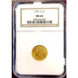 1905 MS 64 NGC $ 2.5 Gold Liberty