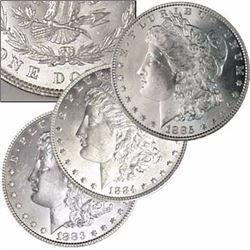 1883,1884 & 1885 Morgan Silver Dollar Trio