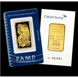 1 oz. Pamp or Credit Suisse Gold Ingot Pure