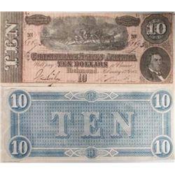 1864 XF/AU Grade $10 Confederate Note - J. Davis