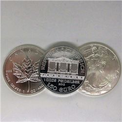 Canada-USA-Austria 1 oz Silver Rounds- Random Date