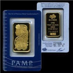 1 oz. Pamp Suisse Gold Bar on Assay Card