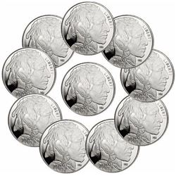 (10) 1 oz Buffalo Design Silver Rounds
