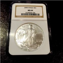 2005 MS 69 NGC US Silver Eagle Better Date