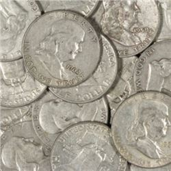 (20) Franklin Half Dollars