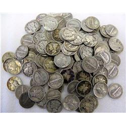 (100) $ 10 Face Value Mercury Dimes 90% Silver