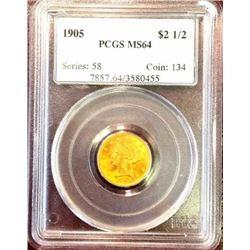 1905 MS 64 $2.5 Gold Liberty PCGS