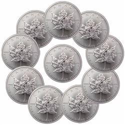 (10) Random Date Silver Maple Leaf's 1 oz Each