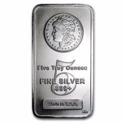 5 oz. Silver Bar - Morgan Design - Pure