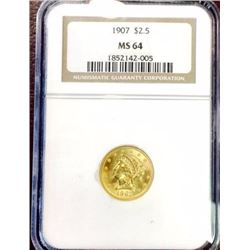 1907 MS 64 $ 2.5 Gold Liberty NGC- Less POP