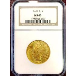 1926 MS 64 $ 10 Gold Indian NGC LUSTER!!