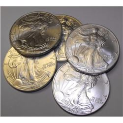 (5) Random Date US Silver Eagles