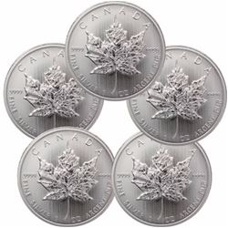 (5) Random Date Silver Canadian Maple Leaf's