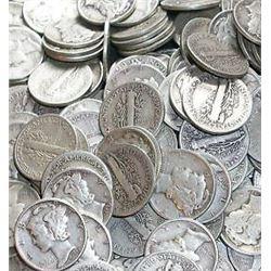 Roll of Mercury Dimes g-xf grades- 50 Coins