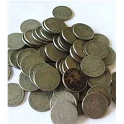 Lot of 50 V Nickels- Circulated Coins-1883-1912