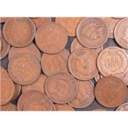 Lot of 50 Indian Head Pennies-ag-f