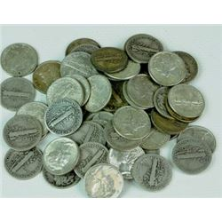 Roll of Mercury Dimes g-xf grades- 50 Coins