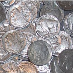 Lot of 50 Buffalo Nickels- Circulated Coins-1883-1