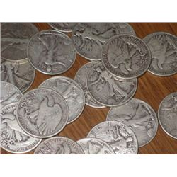 Lot of 15 Walking Liberty Halves