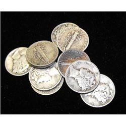 Lot of 10 Mercury Dimes-