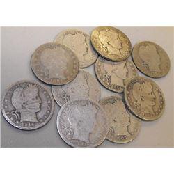 Lot of 10 Barber Half Dollars-