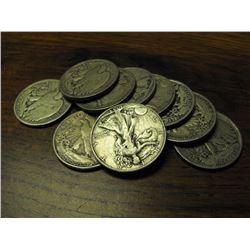 Lot of 10 Walking Liberty Half Dollars