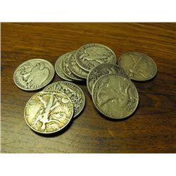 10 Walking Liberty Liberty Half Dollars-