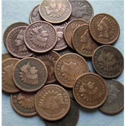 Lot of 50 Indian Head Pennies-cleaned