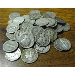 Lot of 50 Mercury Dimes-