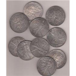 Lot of (10) Random Date US Silver Eagles