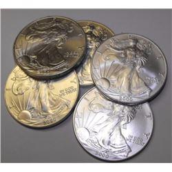 (5) US Silver Eagles - Random Dates