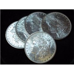 Lot of (5) BU 1800's Morgan Dollars